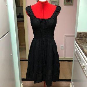 black cotton gauze peasant dress